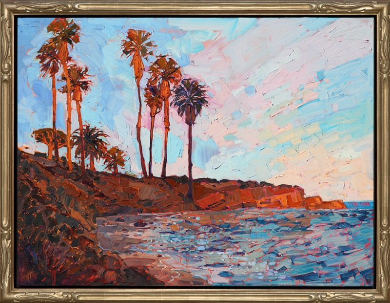 La Jolla Cove impressionist painting framed in carved open impressionist frame