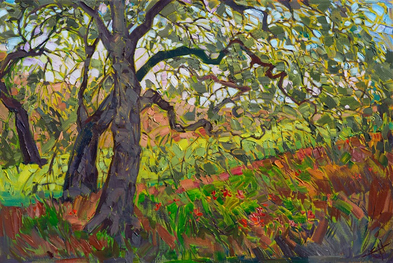 California oaks painted in mosaic oils by modern expressionist landscape painter Erin Hanson