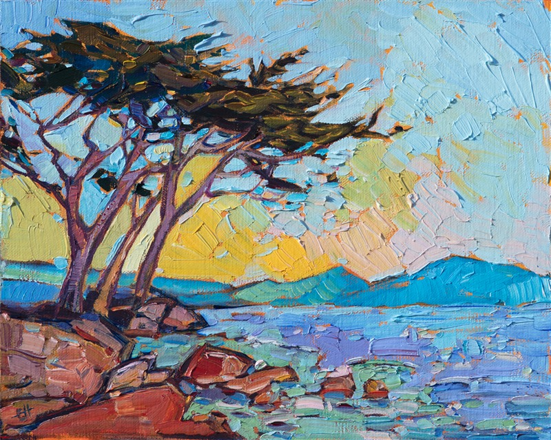 Coastal scenery oil painting of Pebble Beach by contemporary artist Erin Hanson