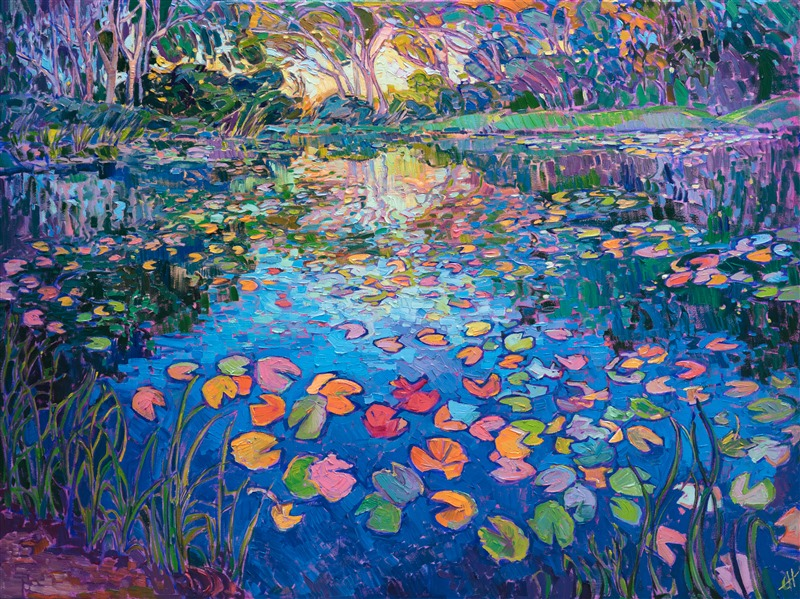 Water lilies oil painting in a modern impressionist style, by Erin Hanson