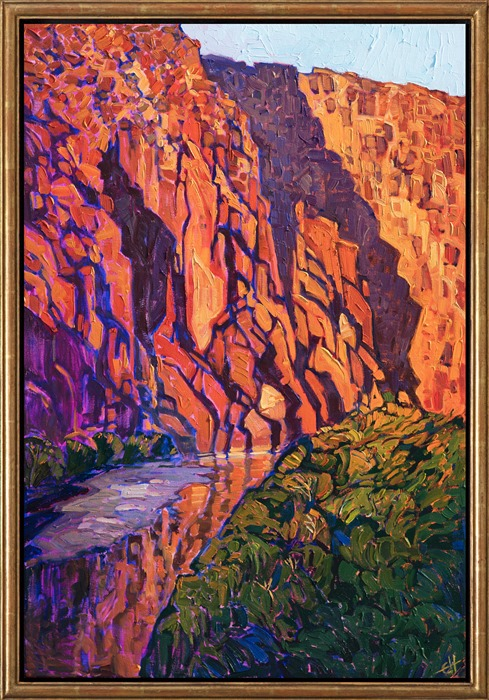 Big Bend National Park painting of the Rio Grande, by artist Erin Hanson, framed in a gold floater frame.