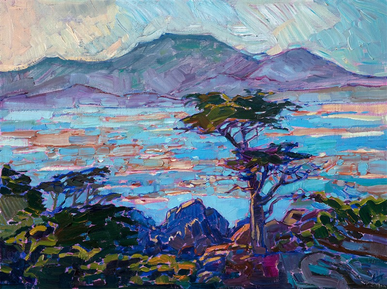 Original impressionistic oil painting of Pebble Beach, California by contemporary California Impressionist Erin Hanson.