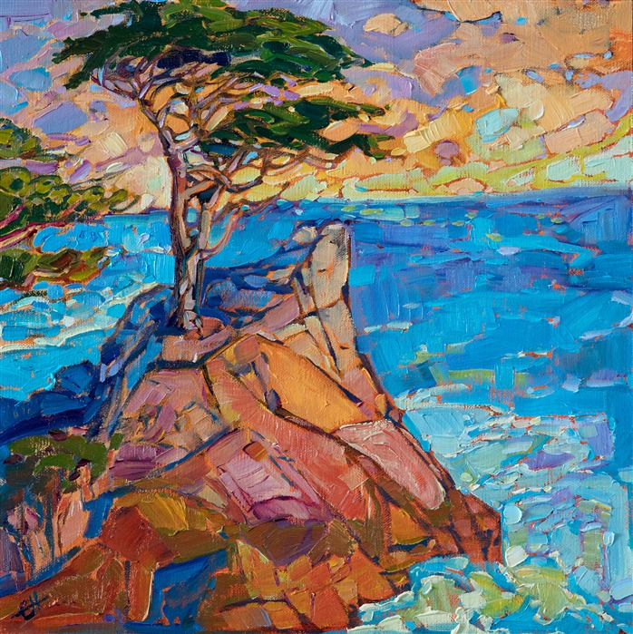 Original oil painting of Lone Cypress