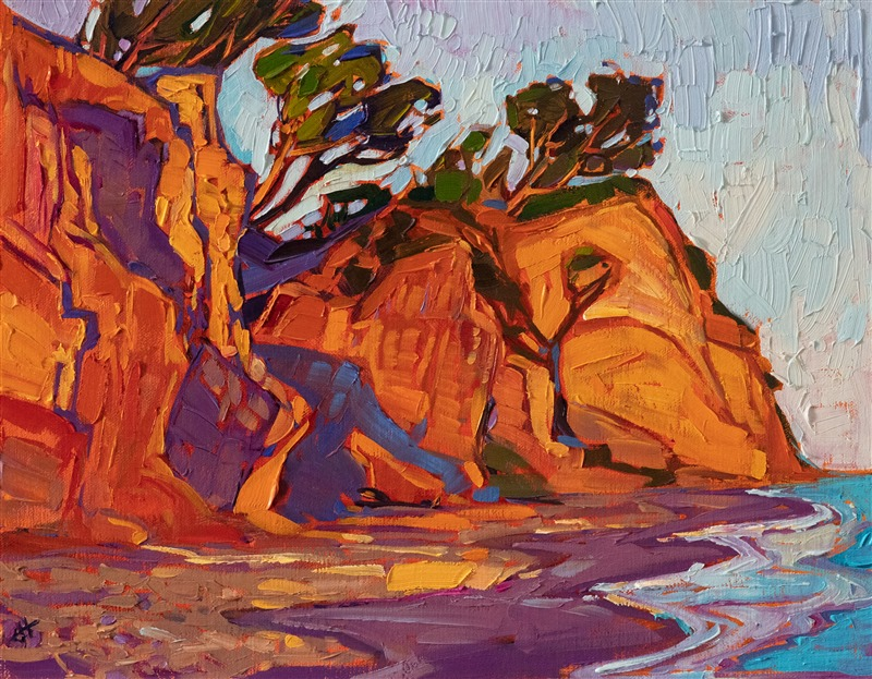 11x14 Loon Point Santa Barbara coastal oil painting by impressionist Erin Hanson