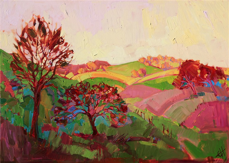 Unusual color palette modern expressionist artwork by Erin Hanson