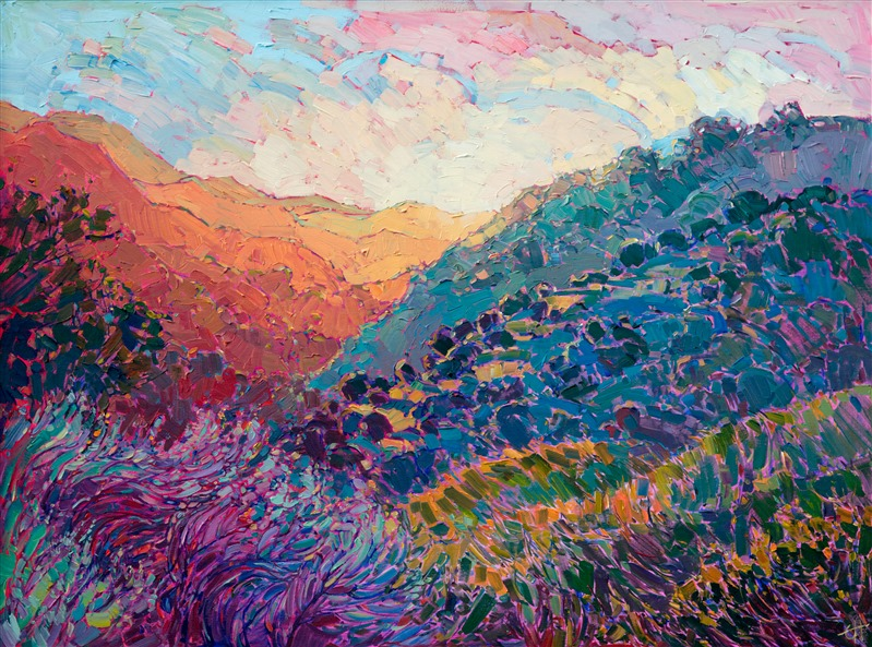 Contemporary American impressionism oil painting inspired by Carmel Valley, California, by artist Erin Hanson.