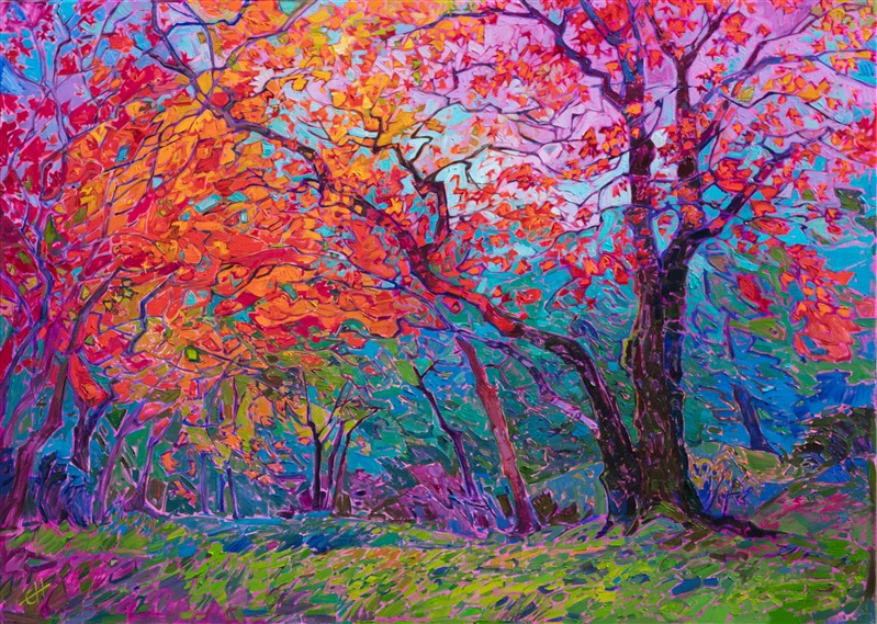 Japanese maple trees original oil painting for sale, by modern impressionist Erin Hanson.