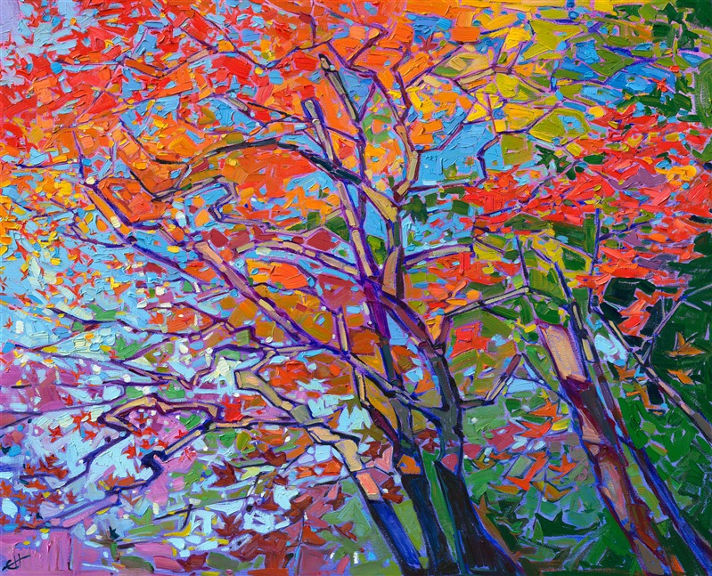 Japanese maple tree oil painting by Erin Hanson, master impressionist artist.