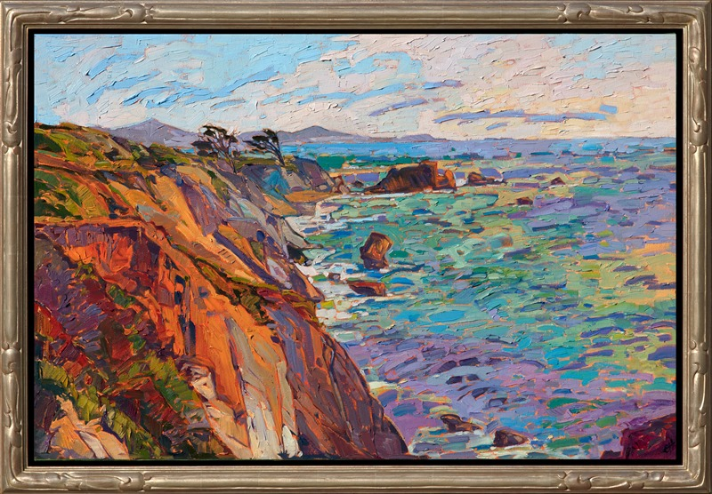 Framed Mendocino artwork by California landscape impressionist painter Erin Hanson framed in champagne Open Impressionism frame