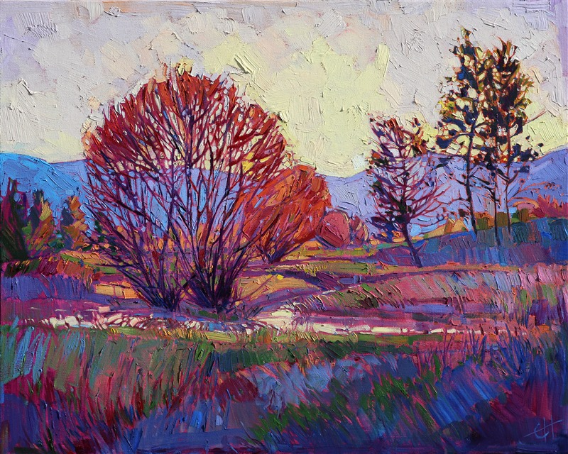 Montana lanscape in alla prima, impasto technique, by Erin Hanson