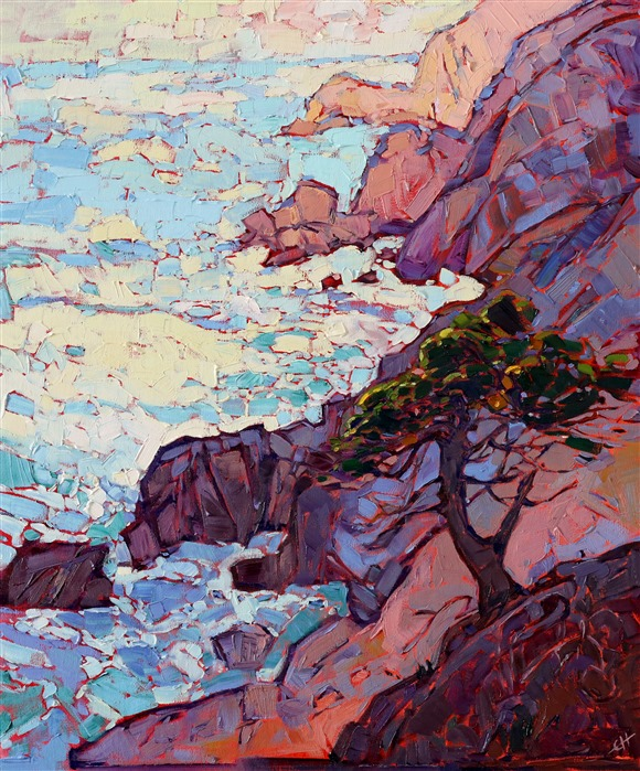 Monterey painting of a rocky California coast, by modern expressionist painter Erin Hanson.