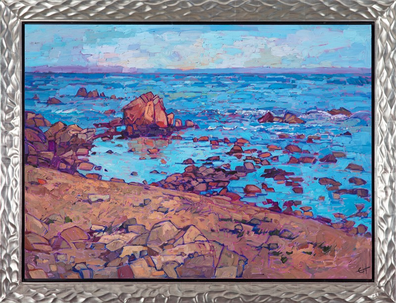 The Open Impressionism painting, Monterey Sands, in a unique silver frame.