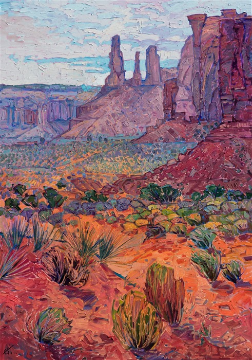 Monument Valley southwest landscape oil painting by modern impressionist Erin Hanson.