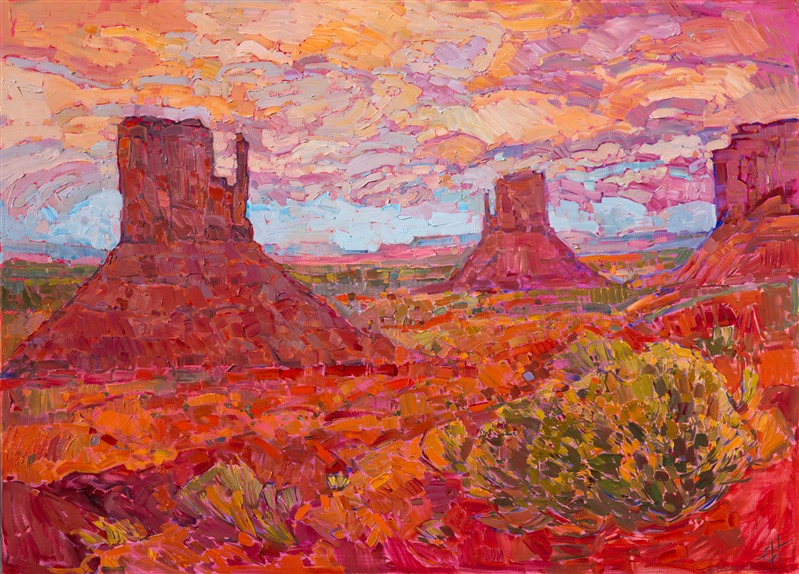 Dance of the Sagebrush, California desert oil painting by Erin Hanson