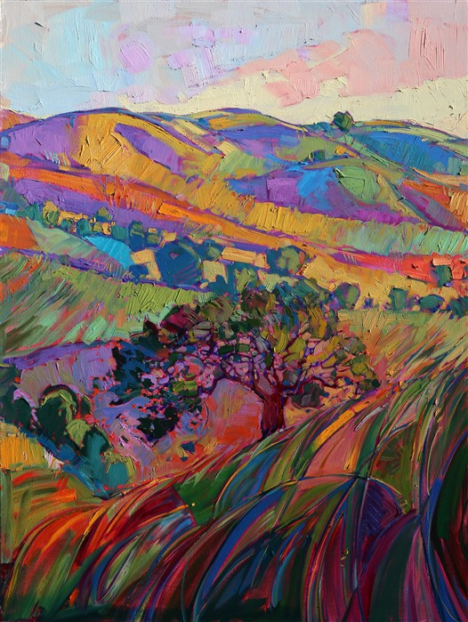 Panel 4: Paso Robles large tritpych oil painting landscape by modern impressionist Erin Hanson
