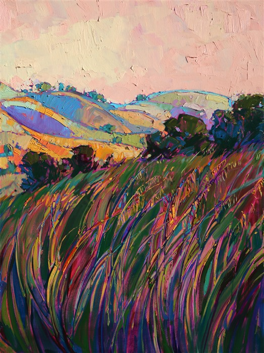 Panel 5: Paso Robles large tritpych oil painting landscape by modern impressionist Erin Hanson