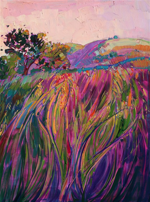 Panel 6: Paso Robles large tritpych oil painting landscape by modern impressionist Erin Hanson