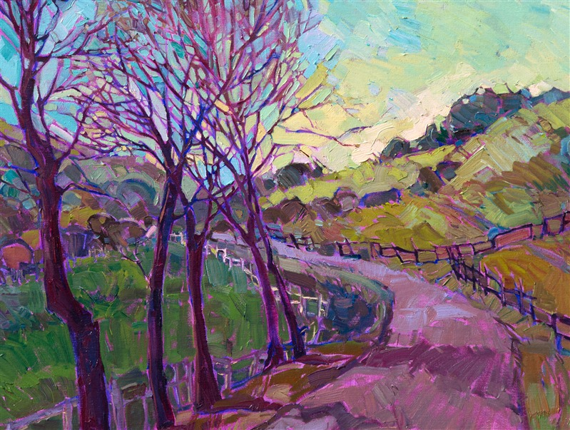 Detail of Morning Gaze, oil painting by Erin Hanson.