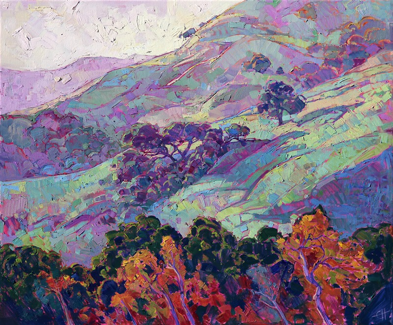 Morning haze in Paso Robles, California wine country landscape painting by Erin Hanson
