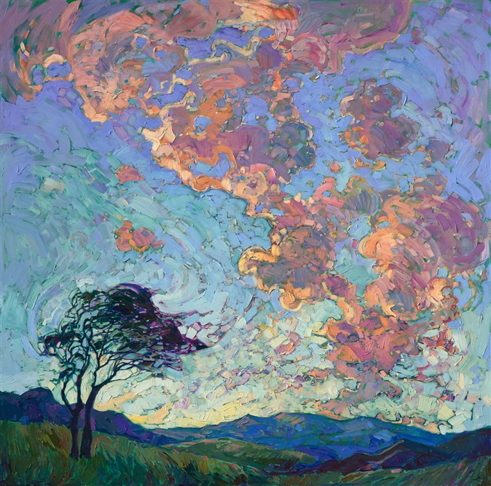 Contemporary expressionism modern masterpiece Texas landscape painting by Erin Hanson