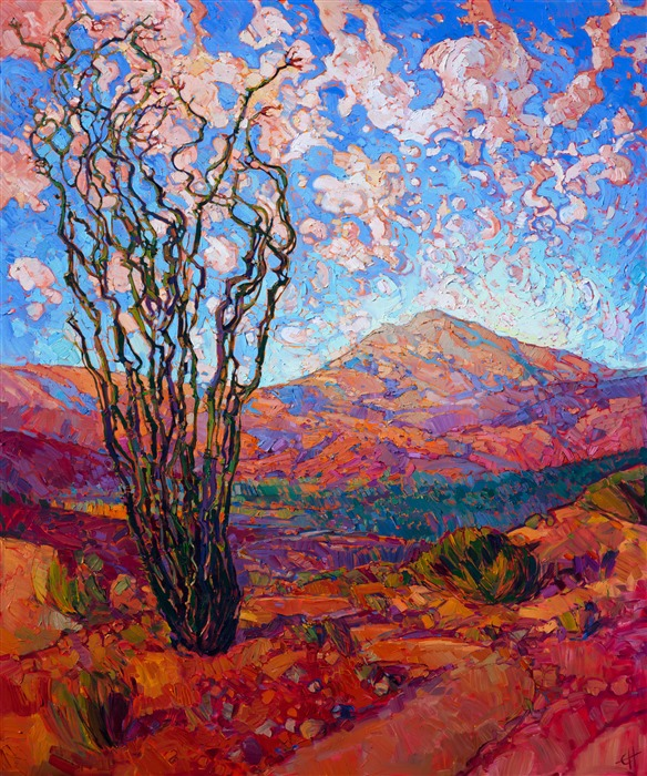 Contemporary desert oil painting landscape in bright colors, Arizona ocotillos, by Erin Hanson.