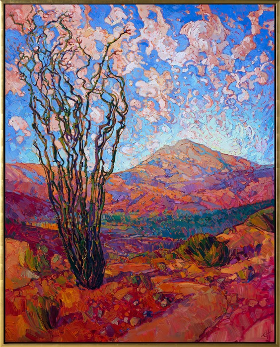 Motion of Ocotillo, large contemporary desert landscape painting in oil, by impressionist Erin Hanson