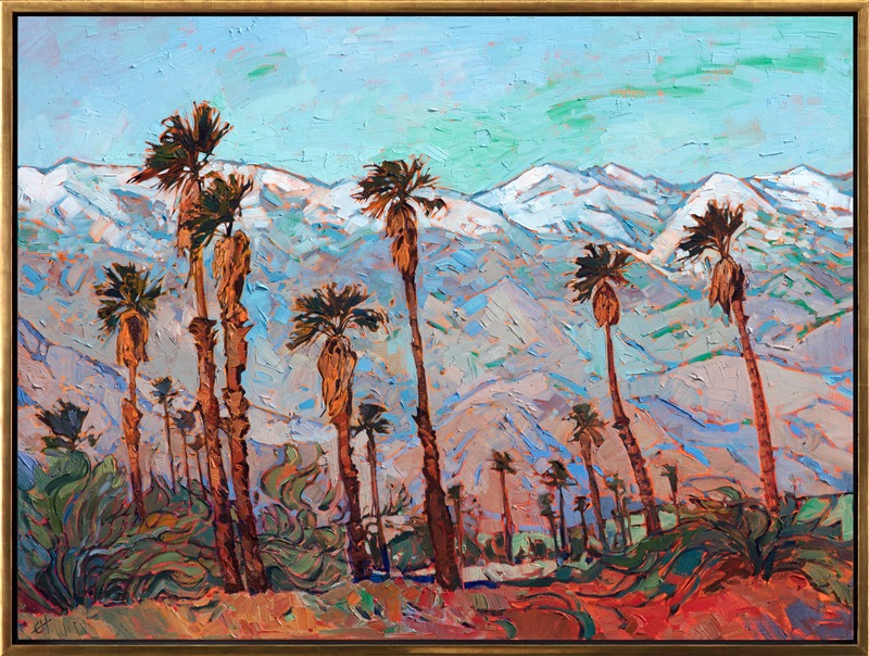 Oil painting for art collectors of Palm Springs scenery with snowcapped mountains and palm trees by Impressionist artist Erin Hanson framed in champagne open impressionist frame