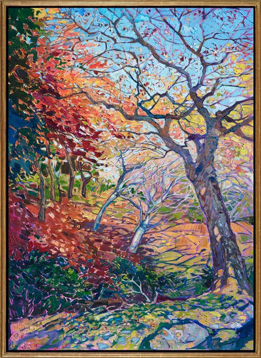 Oil painting of autumn maple trees in Kyoto Japan painted impressionistically by Erin Hanson, framed in a gold floater frame