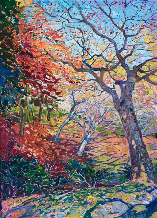 Oil painting of autumn maple trees in Kyoto Japan by impressionist artist Erin Hanson