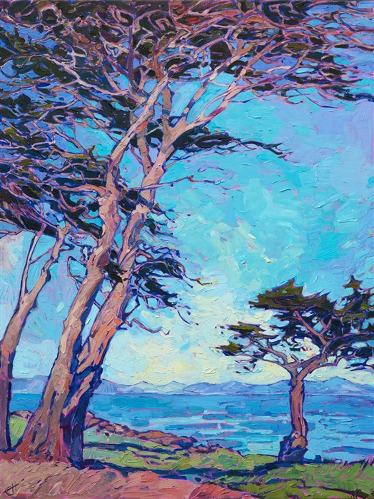 Movement of the Cypress, original oil painting for art collectors of California impressionism.