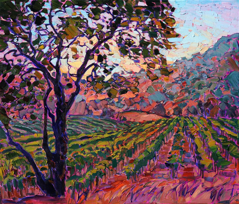 Napa Valley wine country impressionist oil painting by contemporary artist Erin Hanson