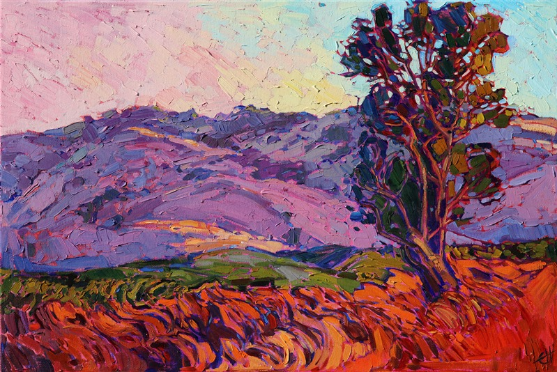 Napa Valley Eucalyptus trees in California wine country contemporary oil painting by Erin Hanson