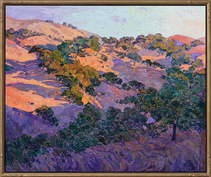 Impressionistic oil painting of Napa Valley by Erin Hanson in gold frame