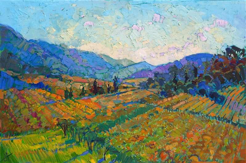 Napa valley original oil painting of California wine country