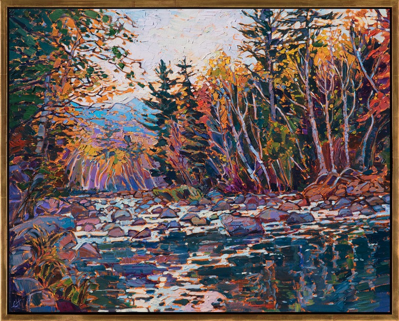 Oil painting of New England's autumn color by impressionist artist Erin Hanson framed in gold floater frame