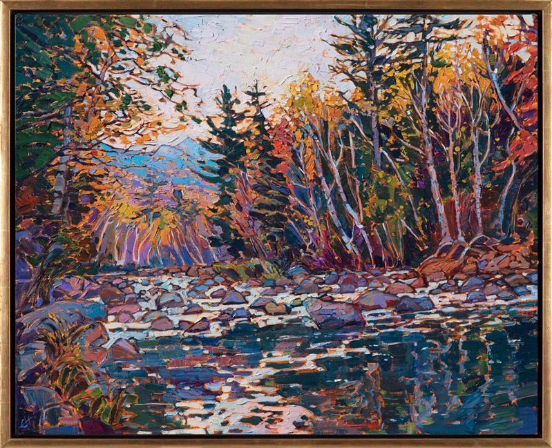 Oil painting of New England autumn color by impressionist artist Erin Hanson framed in gold floater frame