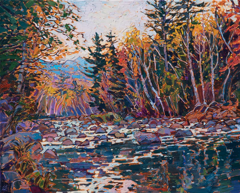 New England oil painting of autumn trees and lake reflection by contemporary impressionist artist Erin Hanson