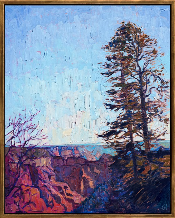 Grand Canyon north rim oil painting in gold floater frame by American impressionist Erin Hanson