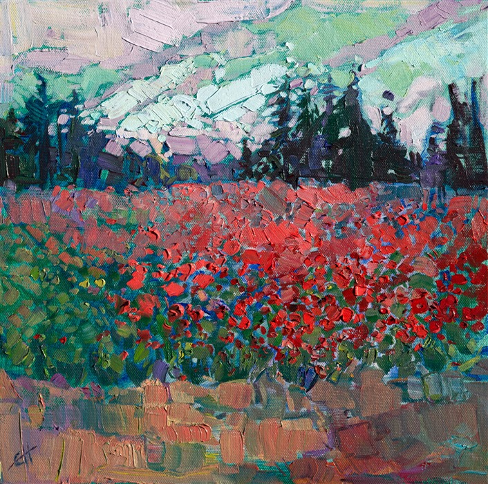 Northwest Fields, original oil painting by modern impressionist artist Erin Hanson.