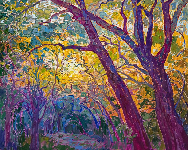 Purchase impressionist paintings of oak trees, by modern impressionism oil painter Erin Hanson.