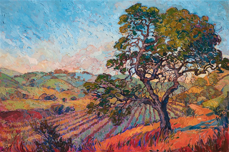 California wine country vineyards oil painting in beautiful colors, by American impressionist Erin Hanson.