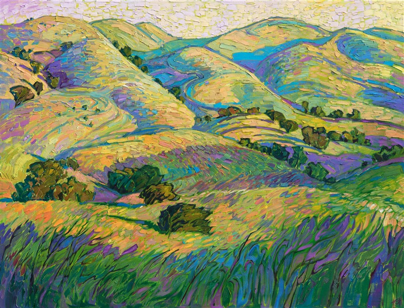 California wine country rolling hills, painted by American expressionist painter Erin Hanson