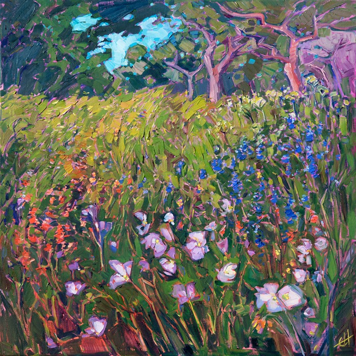 Oaks and wildflower blooms, original oil painting for sale by contemporary impressionist Erin Hanson.
