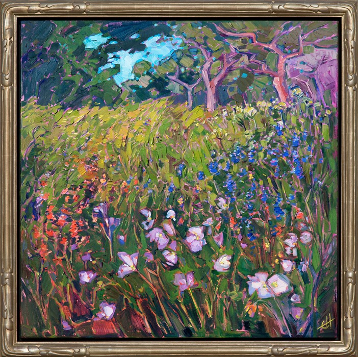 Oaks and Blooms, framed impressionist painting of Texas scenery, by Erin Hanson.