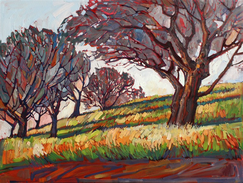Colorist oil painting of Paso Robles oak trees, work by Erin Hanson