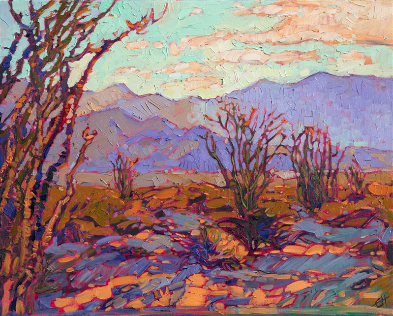Oil painting of California desert landscape with ocotillos by impressionist artist Erin Hanson
