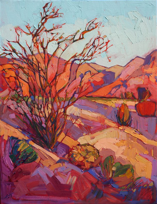 Borrego Springs ocotillo cactus oil painting in abstracted shapes, by Erin Hanson