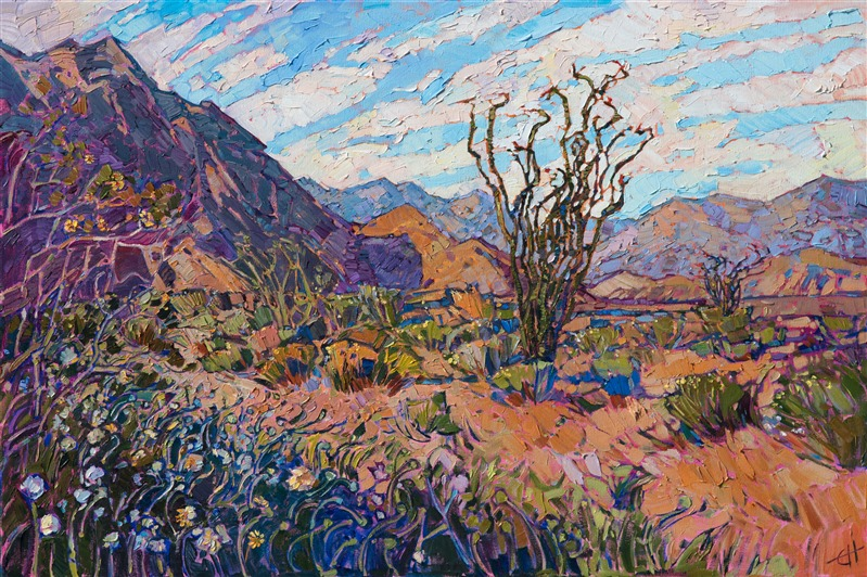 Oil painting of Borrego desert landscape in purple and orange by contemporary impressionist artist Erin Hanson