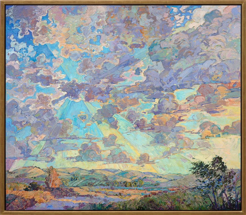 Paso Robles skyscape oil painting by contemporary impressionist artist Erin Hanson framed in gold floater frame
