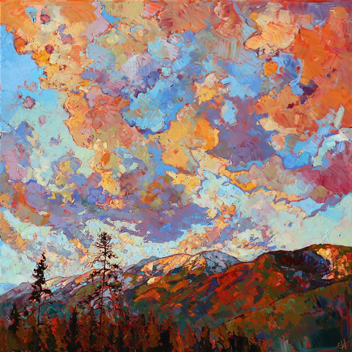 Dramatic Montana landscape painting, by contemporary expressionist oil painter Erin Hanson